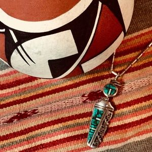 Sterling Vintage Native American Inlay Necklace